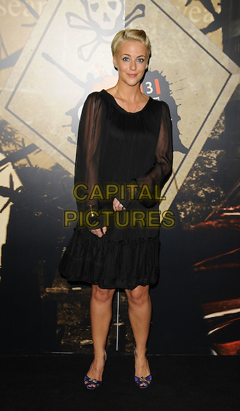 MIRANDA RAISON.The ITV Crime Thriller Awards, Grosvenor House Hotel, London, England..October 3rd, 2008.full length black dress sheer sleeves .CAP/CAN.©Can Nguyen/Capital Pictures.