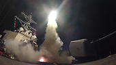 The guided-missile destroyer USS Porter (DDG 78) conducts strike operations while in the Mediterranean Sea, April 7, 2017. Porter, forward-deployed to Rota, Spain, is conducting naval operations in the U.S. 6th Fleet area of operations in support of U.S. national security interests in Europe. <br /> Mandatory Credit: Ford Williams / US Navy via CNP