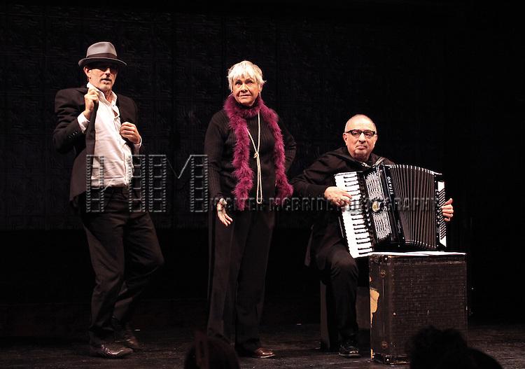 Lance Gries, Estelle Parsons & Accordionist Bill Schimmel during the La Mama Celebrates 51 Gala honoring Estelle Parsons & Peter Swords at the Ellen Stewart Theatre in New York City on 2/27/2013
