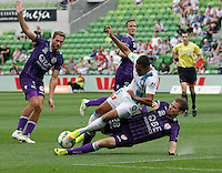 David Williams and Denis Kramar   during the  A-League soccer match between Melbourne City FC and Perth Glory at AAMI Park on February 22, 2015 in Melbourne, Australia.