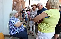 Susan Bro spent hours greeting supporters on Saturday during a visit to the site where her daughter Heather Heyer died exactly one week ago after a car plowed through a group of people on 4th Street SE. This was her first visit to the site. Photo/Andrew Shurtleff