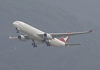 A Cathay Dragon Airbus A330-342 Registration B-HYB in The Spirit of Hong Kong livery at Hong Kong Chek Lap Kok International Airport on 4.4.19 going to Beijing Capital International Airport, China.