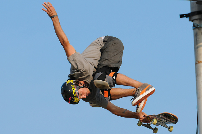 17 August, 2012:  Bucky Lasek competes in the Skateboard Vert semi-final at the Pantech Beach Championships in Ocean City, MD.