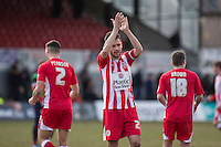 Seamus Conneely of Accrington Stanley thanks the fans at the end of the Sky Bet League 2 match between Newport County and Accrington Stanley at Rodney Parade, Newport, Wales on 28 March 2016. Photo by Mark  Hawkins.