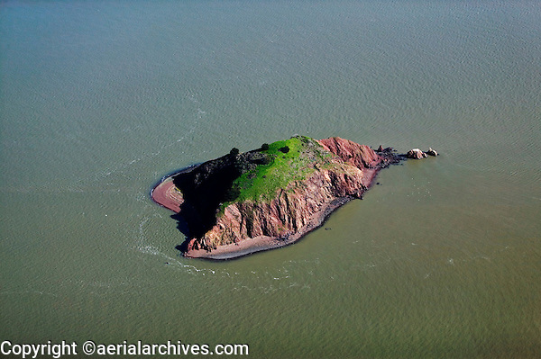 aerial view above Red Rock island San Francisco bay