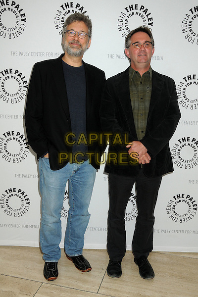 """STEPHEN NATHAN & HART HANSON.An Evening with """"Bones"""" Presented by the Paley Center for Media held at The Paley Center,  Beverly Hills, California, USA, 9th May 2011..full length black jacket jeans blazer green shirt .CAP/ADM/BP.©Byron Purvis/AdMedia/Capital Pictures."""