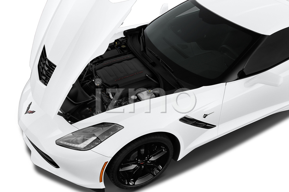 Car stock 2018 Chevrolet Corvette Stingray 1LT 2 Door Coupe engine high angle detail view