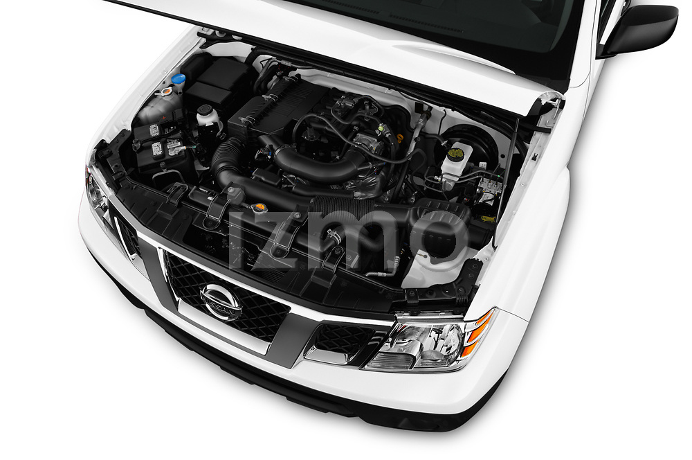 Car Stock 2018 Nissan Frontier S-King-Cab 4 Door Pickup Engine  high angle detail view