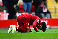 Liverpool's Mohamed Salah celebrates scoring his side's second goal <br /> <br /> Photographer Richard Martin-Roberts/CameraSport<br /> <br /> The Premier League - Liverpool v Chelsea - Sunday 14th April 2019 - Anfield - Liverpool<br /> <br /> World Copyright © 2019 CameraSport. All rights reserved. 43 Linden Ave. Countesthorpe. Leicester. England. LE8 5PG - Tel: +44 (0) 116 277 4147 - admin@camerasport.com - www.camerasport.com