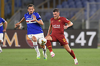 Jordan Veretout of Roma and Manolo Gabbiadini  of Sampdoria<br /> during the Serie A football match between AS Roma and UC Sampdoria at Olimpico stadium in Rome ( Italy ), June 24th, 2020. Play resumes behind closed doors following the outbreak of the coronavirus disease. <br /> Photo Andrea Staccioli / Insidefoto