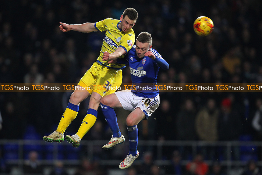 Marnick Vermijl of Sheffield Wednesday rises with Freddie Sears of Ipswich Town - Ipswich Town vs Sheffield Wednesday - Sky Bet Championship Football at Portman Road, Ipswich, Suffolk  - 10/02/15 - MANDATORY CREDIT: Gavin Ellis/TGSPHOTO - Self billing applies where appropriate - contact@tgsphoto.co.uk - NO UNPAID USE