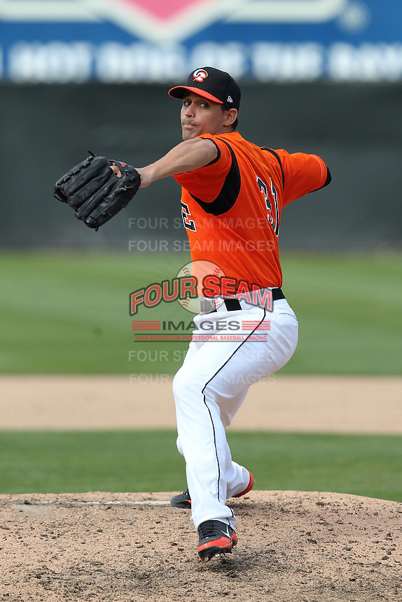 Bowie BaySox pitcher Robert Hinton #31 delivers a pitch during a game against the Harrisburg Senators at Prince George's Stadium on April 8, 2012 in Bowie, Maryland.  Harrisburg defeated Bowie 5-2.  (Mike Janes/Four Seam Images)