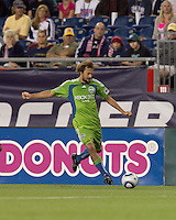 Seattle Sounders FC forward Roger Levesque (24) crosses the ball. The New England Revolution defeated the Seattle Sounders FC, 3-1, at Gillette Stadium on September 4, 2010.