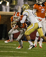 The eighth ranked Clemson Tigers defeat the Georgia Tech Yellow Jackets at Death Valley 55-31 in an ACC matchup.  Clemson Tigers wide receiver Adam Humphries (13), Georgia Tech Yellow Jackets cornerback Louis Young (8)