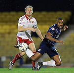 Southend's Tyrone Barnett tussles with Sheffield United's Jay McEverley during the League One match at Roots Hall Stadium.  Photo credit should read: David Klein/Sportimage