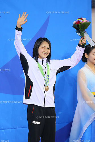 Asami Chida (JPN), <br /> SEPTEMBER 25, 2014 - Swimming : <br /> Women's 800m Freestyle Medal Ceremony <br /> at Munhak Park Tae-hwan Aquatics Center <br /> during the 2014 Incheon Asian Games in Incheon, South Korea. <br /> (Photo by YUTAKA/AFLO SPORT)