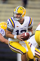 Sept. 5, 2009; Seattle, WA, USA; LSU Tigers quarterback (12) Jarrett Lee against the Washington Huskies at Husky Stadium. LSU defeated Washington 31-23. Mandatory Credit: Mark J. Rebilas-