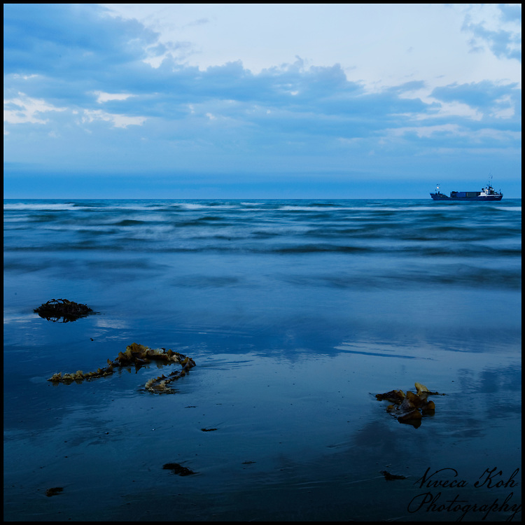 Ship from the beach, long exposure