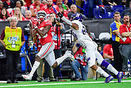 Indianapolis, IN - DEC 1, 2018: Ohio State Buckeyes wide receiver Terry McLaurin (83) burns Northwestern Wildcats defensive back Greg Newsome II (29) for a touchdown during first half action of the Big Ten Championship game between Northwestern and Ohio State at Lucas Oil Stadium in Indianapolis, IN. (Photo by Phillip Peters/Media Images International)