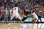 SIOUX FALLS, SD - MARCH 8: Kienan Walter #23 of the North Dakota Fighting Hawks drives the ball to the paint against Triston Simpson #3 of the South Dakota Coyotes at the 2020 Summit League Basketball Championship in Sioux Falls, SD. (Photo by Richard Carlson/Inertia)