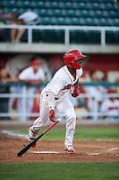 Orem Owlz D'Shawn Knowles (32) starts towards first base during a Pioneer League game against the Idaho Falls Chukars at The Home of the OWLZ on August 13, 2019 in Orem, Utah. Orem defeated Idaho Falls 3-1. (Zachary Lucy/Four Seam Images)