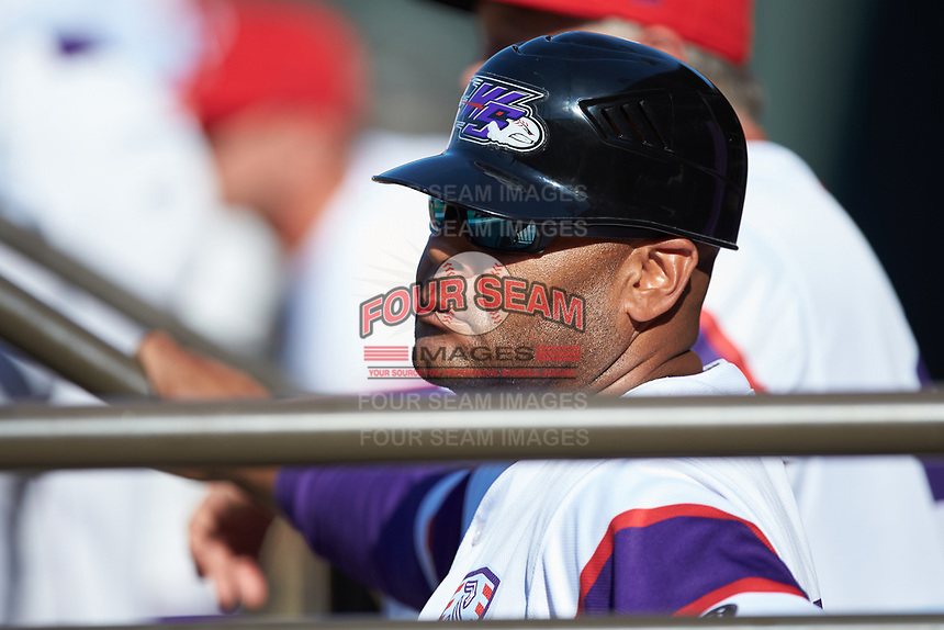 Winston-Salem Dash hitting coach Jaime Dismuke (33) watches from the dugout during the game against the Lynchburg Hillcats at BB&T Ballpark on June 23, 2019 in Winston-Salem, North Carolina. The Hillcats defeated the Rayados 12-9 in 11 innings. (Brian Westerholt/Four Seam Images)