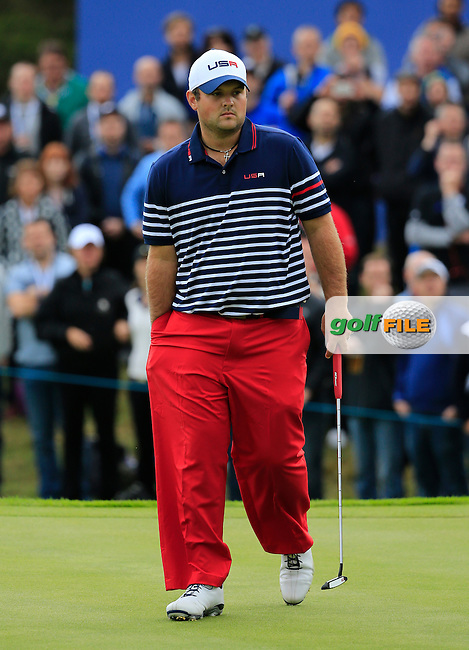 Patrick Reed (USA) during the Sunday Singles Matches at the 2014 Ryder Cup at Gleneagles. The 40th Ryder Cup is being played over the PGA Centenary Course at The Gleneagles Hotel, Perthshire from 26th to 28th September 2014.: Picture Fran Caffrey, www.golffile.ie: \28/09/2014\