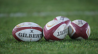 WRU rugby balls<br /> <br /> Photographer Alex Dodd/CameraSport<br /> <br /> RBS Six Nations U20 Championship Round 4 - Wales U20s v Ireland U20s - Saturday 11th March 2017 - Parc Eirias, Colwyn Bay, North Wales<br /> <br /> World Copyright &copy; 2017 CameraSport. All rights reserved. 43 Linden Ave. Countesthorpe. Leicester. England. LE8 5PG - Tel: +44 (0) 116 277 4147 - admin@camerasport.com - www.camerasport.com
