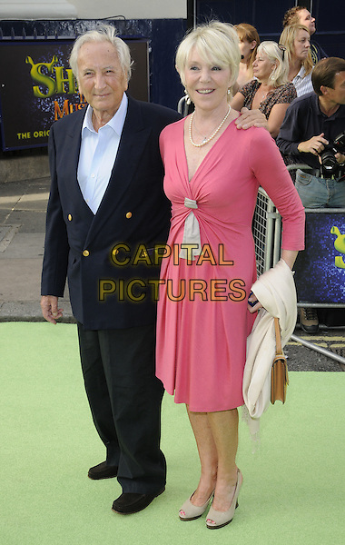 Michael Winner & Geraldine Lynton Edwards .attending the 'Shrek The Musical' Press Night at Theatre Royal, London, England, UK, June 14th, 2011..full length couple black navy blue shirt jacket suit pink  dress .CAP/CAN.©Can Nguyen/Capital Pictures.