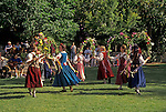 English Garland Dancing by the Briar Rose Ensemble in Lithia Park during the annual Feast of Will to celebrate opening of the Oregon Shakespeare Festival plays in the outdoor Elizabethan Theatre; Ashland, Oregon..#2344-1015