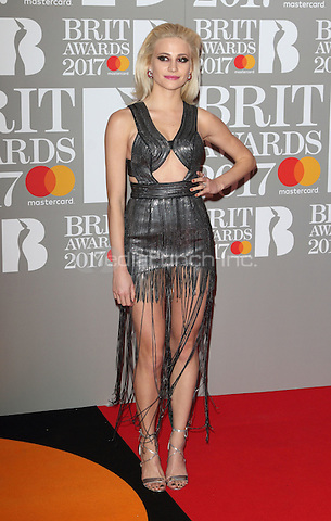 Pixie Lott at The BRIT Awards 2017 at The O2, Peninsula Square, London on February 22nd 2017<br /> CAP/ROS<br /> &copy; Steve Ross/Capital Pictures /MediaPunch ***NORTH AND SOUTH AMERICAS ONLY***