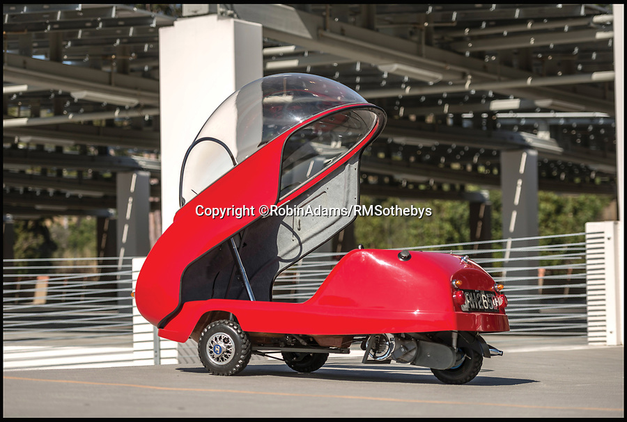 BNPS.co.uk (01202 558833)<br /> Pic: RobinAdams/RMSothebys/BNPS<br /> <br /> A bizarre bubble car that is strikingly similar to the famous flying car from The Jetsons cartoon has emerged for sale for £80,000. <br /> <br /> The wacky Peel Trident micro-car was built in 1965, two years after the first series of Hanna-Barbera's animated sitcom was aired.<br /> <br /> Although the dinky Trident doesn't take flight its most identifiable feature is a glass bubble shell, much like George Jetson's 'aerocar'. <br /> <br /> Just 45 of the three-wheeled single seater motor were made by an Isle of Man company, making them a collector's item today.