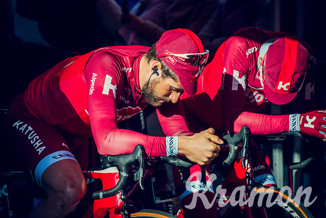 Team Katusha-Alpecin waiting in the morning light to mount the presentation podium before the race start<br /> <br /> 101th Ronde Van Vlaanderen 2017 (1.UWT)<br /> 1day race: Antwerp &rsaquo; Oudenaarde - BEL (260km)