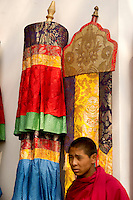 Buddhist monk in a Losar ceremonial procession, Sikkim, India