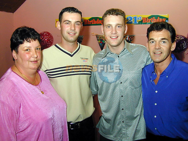 Jason Collier celebrating his 21st birthday in Curley's, Bellewstown with his parents Collette and John and his brother John Jr..Picture Paul Mohan Newsfile