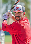 5 March 2015: Washington Nationals infielder Danny Espinosa awaits his turn in the batting cage prior to a Spring Training game against the New York Mets at Space Coast Stadium in Viera, Florida. The Nationals rallied to defeat the Mets 5-4 in Grapefruit League play. Mandatory Credit: Ed Wolfstein Photo *** RAW (NEF) Image File Available ***