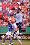 July 14 2007:  Kevin Hartman (1) goalie for the Wizards goes up for a ball in the box as teammate Nick Garcia (3) looks on.  The MLS Kansas City Wizards defeated the visiting Real Salt Lake 1-0 at Arrowhead Stadium in Kansas City, Missouri, in a regular season league soccer match.