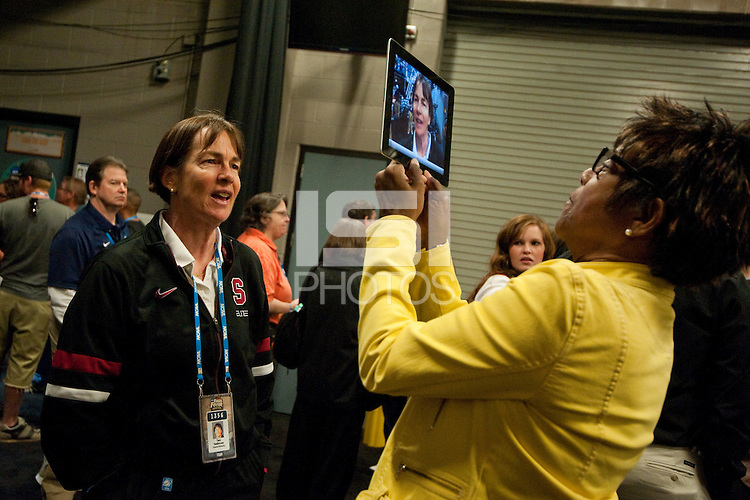DENVER, CO--Head Coach Tara VanDerveer speaks with members of the media during the WBCA All American awards at the Pepsi Center for the 2012 NCAA Women's Final Four festivities in Denver, CO.