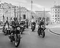 London, UK. 30.09.2018. Dapperly dressed motorcyclists participating in the Distinguished Gentleman's Ride, ride round Trafalgar Square, en route for their charity outing. The ride is to raise funds and awareness for men&rsquo;s health, specifically prostate cancer and men's mental health.<br /> <br /> The Distinguished Gentleman&rsquo;s Ride was founded in Sydney, Australia by Mark Hawwa. It was inspired by a photo of Mad Men&rsquo;s Don Draper astride a classic bike and wearing his finest suit. Mark decided a themed ride would be a great way to combat the often-negative stereotype of men on motorcycles, whilst connecting niche motorcycle communities together. Photograph &copy; Jane Hobson.