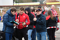 Lincoln City's Lee Frecklington signs autographs for fans as he arrives at the ground<br /> <br /> Photographer Chris Vaughan/CameraSport<br /> <br /> The EFL Sky Bet League Two - Lincoln City v Notts County - Saturday 13th January 2018 - Sincil Bank - Lincoln<br /> <br /> World Copyright &copy; 2018 CameraSport. All rights reserved. 43 Linden Ave. Countesthorpe. Leicester. England. LE8 5PG - Tel: +44 (0) 116 277 4147 - admin@camerasport.com - www.camerasport.com