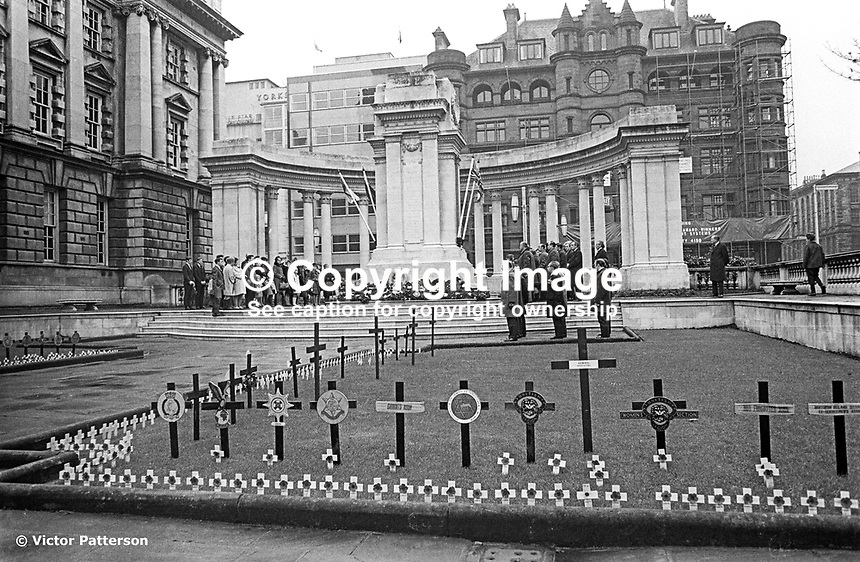 The annual Remembrance Sunday parade to the Belfast Cenotaph in the grounds of Belfast City Hall was an unintended victim of a N Ireland-wide parades ban. Wreaths were still laid but it was a very low-event compared with other years, 9th November 1969. 196911090260<br />
