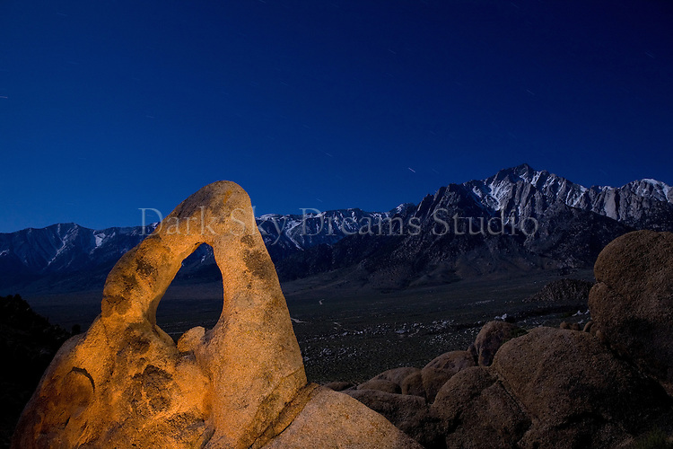 Whitney Portal Arch as seen at night in the Alabama Hills BLM Recreation Area, near Lone Pine, California