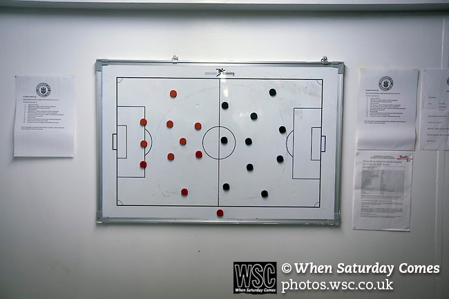 Edinburgh City v Spartans, 11/04/2015. Commonwealth Stadium, Scottish Lowland League. An view of the home dressing room tactics board at the Commonwealth Stadium at Meadowbank before the Scottish Lowland League match between Edinburgh City and city rivals Spartans, which was won by the hosts by 2-0. Edinburgh City were the 2014-15 league champions and progressed to a play-off to decide whether there would be a club promoted to the Scottish League for the first time in its history. The Commonwealth Stadium hosted Scottish League matches between 1974-95 when Meadowbank Thistle played there. Photo by Colin McPherson.
