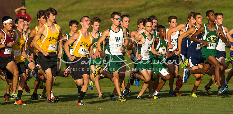 Photography of the Woodlawn School Men's Cross Country Team competing at Cannon School in Concord, NC.<br /> <br /> Charlotte Photographer - PatrickSchneiderPhoto.com