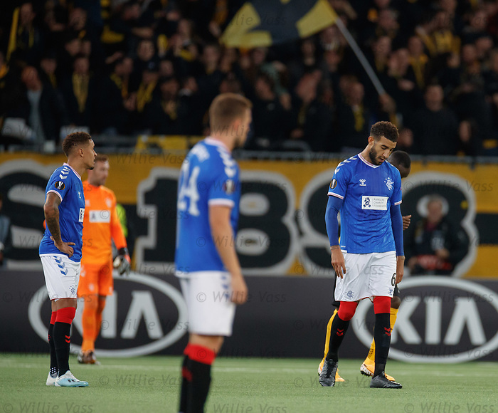 03.10.2019 Young Boys of Bern v Rangers: Rangers dejection