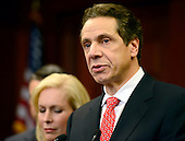 Governor Andrew Cuomo (Democrat of New York) holds a press conference in the U.S. Capitol following a series of meetings with Congressional Leadership on Monday, December 3, 2012.  United States Senator Kirsten Gillibrand (Democrat of New York) is at left..Credit: Ron Sachs / CNP.(RESTRICTION: NO New York or New Jersey Newspapers or newspapers within a 75 mile radius of New York City)