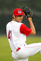 Auburn Doubledays pitcher Matt Purke #41 poses for a photo before game two of the semi-final round of the NY-Penn League Playoff series against the Vermont Lake Monstes at Falcon Park on September 8, 2011 in Auburn, New York.  Auburn defeated Vermont 3-2.  (Mike Janes/Four Seam Images)