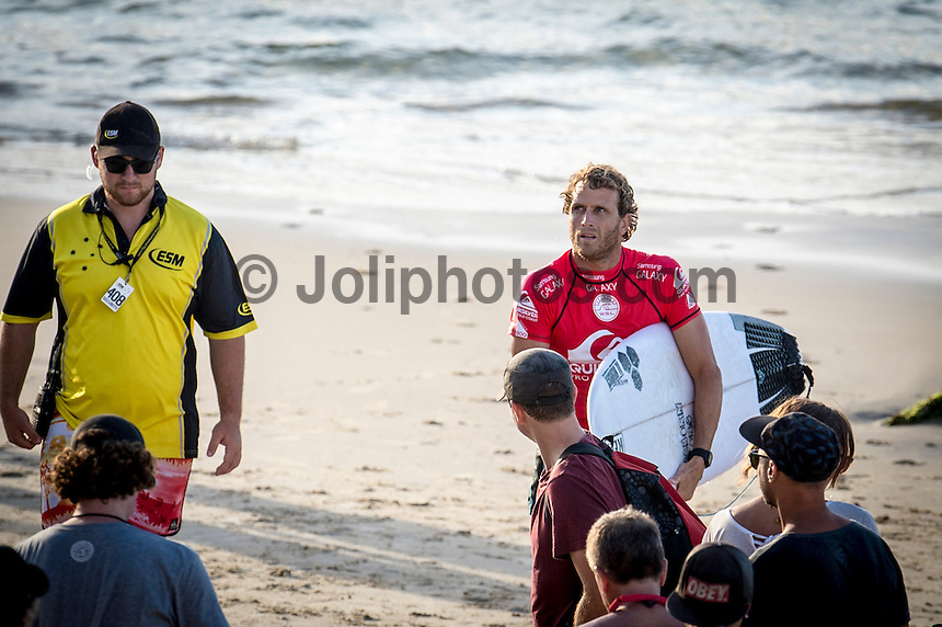 Snapper Rocks, COOLANGATTA, Queensland/Australia (Wednesday, March 11, 2015) Kai Otten (AUS) not happy with the judges after his loss.- Competition at the Quiksilver Pro Gold Coast recommenced today after 11 consecutive lay days and ran through Round 2 at Snapper Rocks. The world&rsquo;s best surfers battled through tough conditions to avoid elimination and earn a place in Round 3. Top seeds Mick Fanning (AUS) and Kelly Slater (USA) both advanced but there were some upsets in the Round.<br />  <br /> -  Photo: joliphotos.com