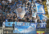Hoffenheimer Fans - 08.04.2018: Eintracht Frankfurt vs. TSG 1899 Hoffenheim, Commerzbank Arena