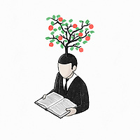 Tree growing from man reading book